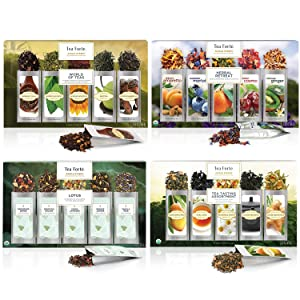 Tea Forte Single Steeps Bundle - Tea Tasting, Lotus, Herbal Retreat & World of Teas