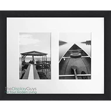 """The Display Guys ~ 11x14 inches Black Wooden Photo Frame, Tempered Glass, with 1pc White Mat Board for 2- 5""""x7"""" Pictures"""