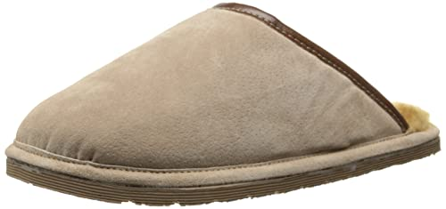 Mens Eurow Men's Hardsole Sheepskin Scuff Slipper Chestnut/Stoney For Sale Size 44