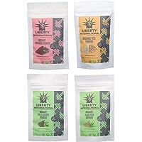 Liberty International 100% Organic Hibiscus & Orange & Tulsi & Aloevera Powder (227 Gm Each) For Face, Hair & Skin Care Certified NZ29430