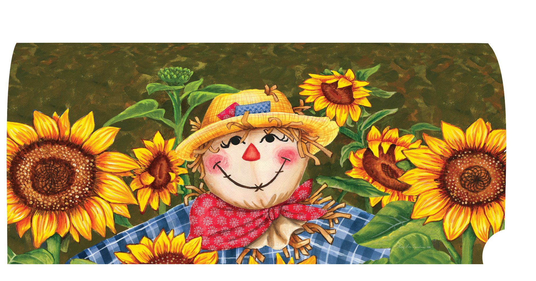 Plaid Scarecrow - Mailbox Makeover - Vinyl with Magnetic Strips - Licensed, Copyrighted and Made in the USA by Custom Decor Inc.