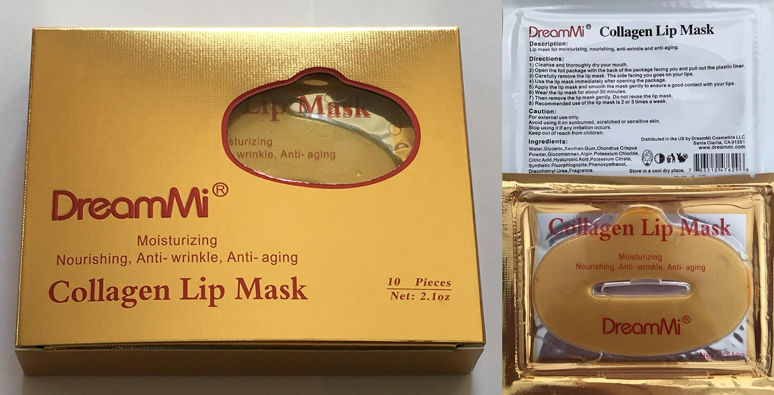 DreamMi 50 Pieces (Comes in 5 Boxes) Gold Bio Collagen Gel Lip Pad Mask Patch Sheet, Moisturizing, Nourishing, Anti Fine Line, Anti Wrinkle and Anti Aging, By DreamMi️