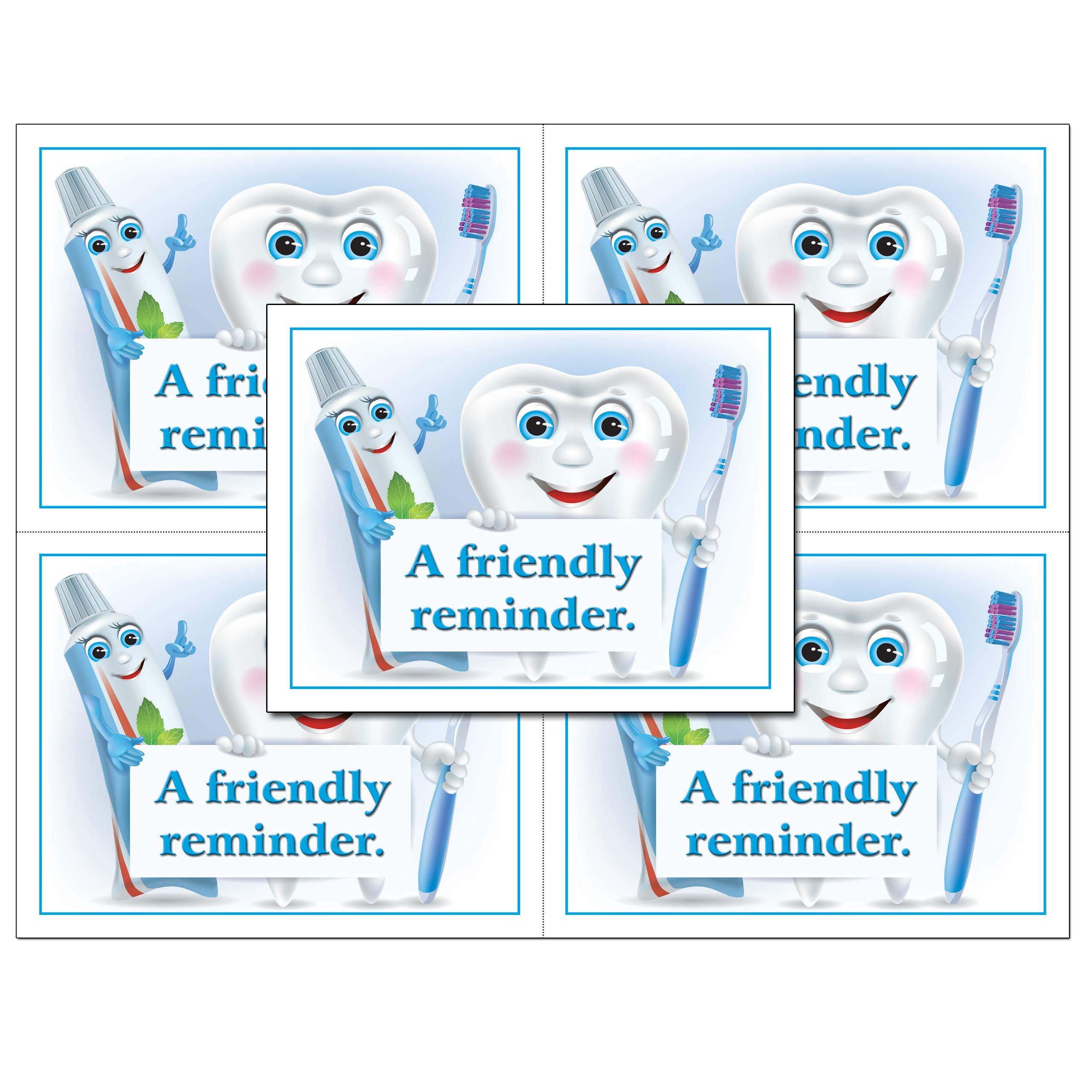 Laser Reminder Postcards, Dental Appointment Reminder Postcards. 4 Cards Perforated for Tear-Off at 4.25'' x 5.5'' on an 8.5'' x 11'' Sheet of 8 Pt Card Stock. DEN251-LZS (1000) by Custom Recall