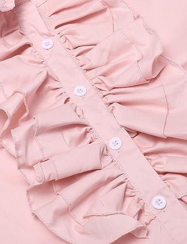 0692968610099d cooshional Damen Viktorianische Chiffon Bluse Rüschen Langarm Stehkragen  Vintage Hemd Tops Shirts: Amazon.de: Bekleidung