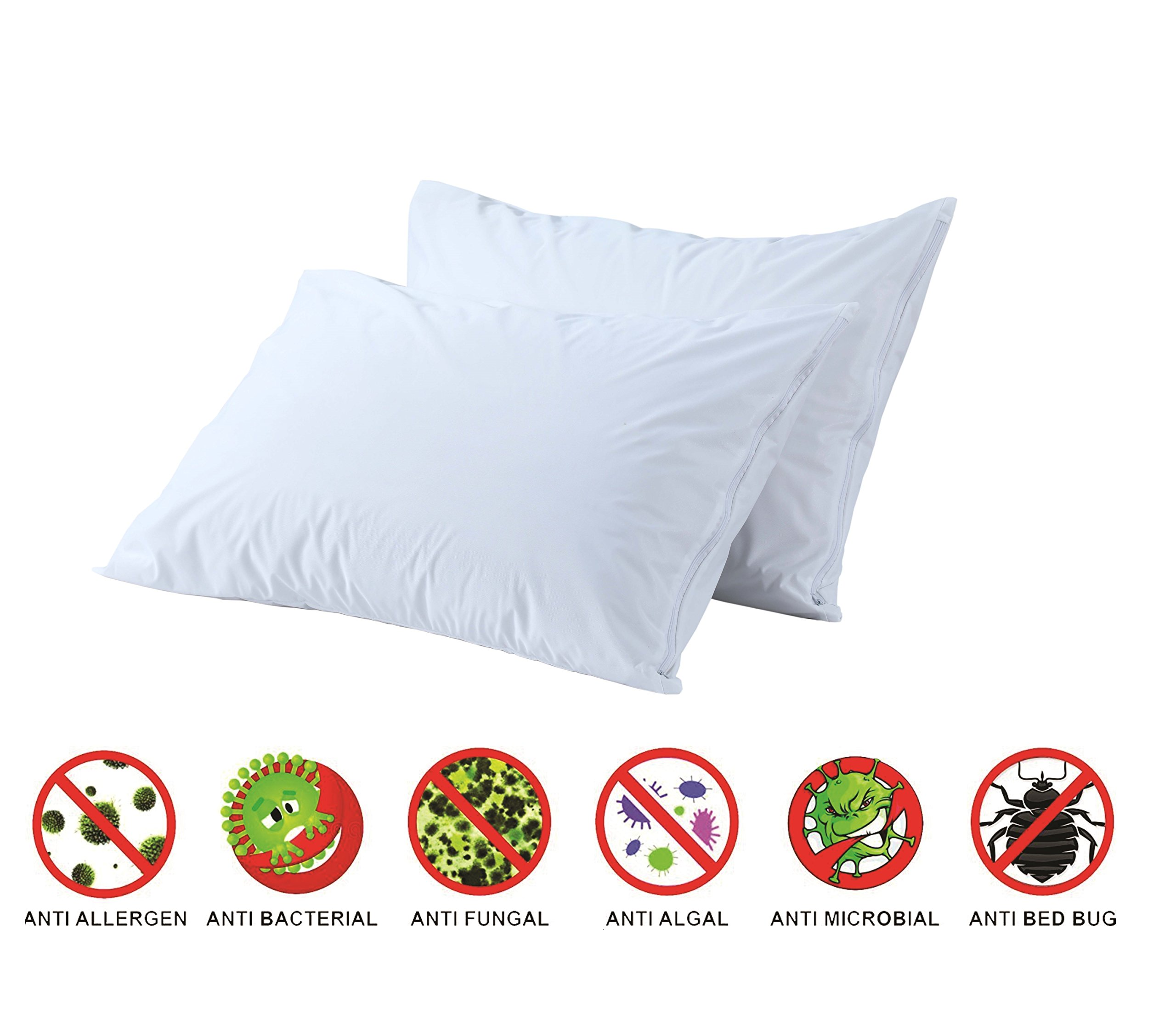 Anti Allergy Bed Bug Dust Mite Proof Pillow Protectors Pair 100% Cotton Standard Premium Pillow Covers Non Crinkly 2 Pack Zippered Cases Anti Bacterial Breathable Non Noisy Luxury