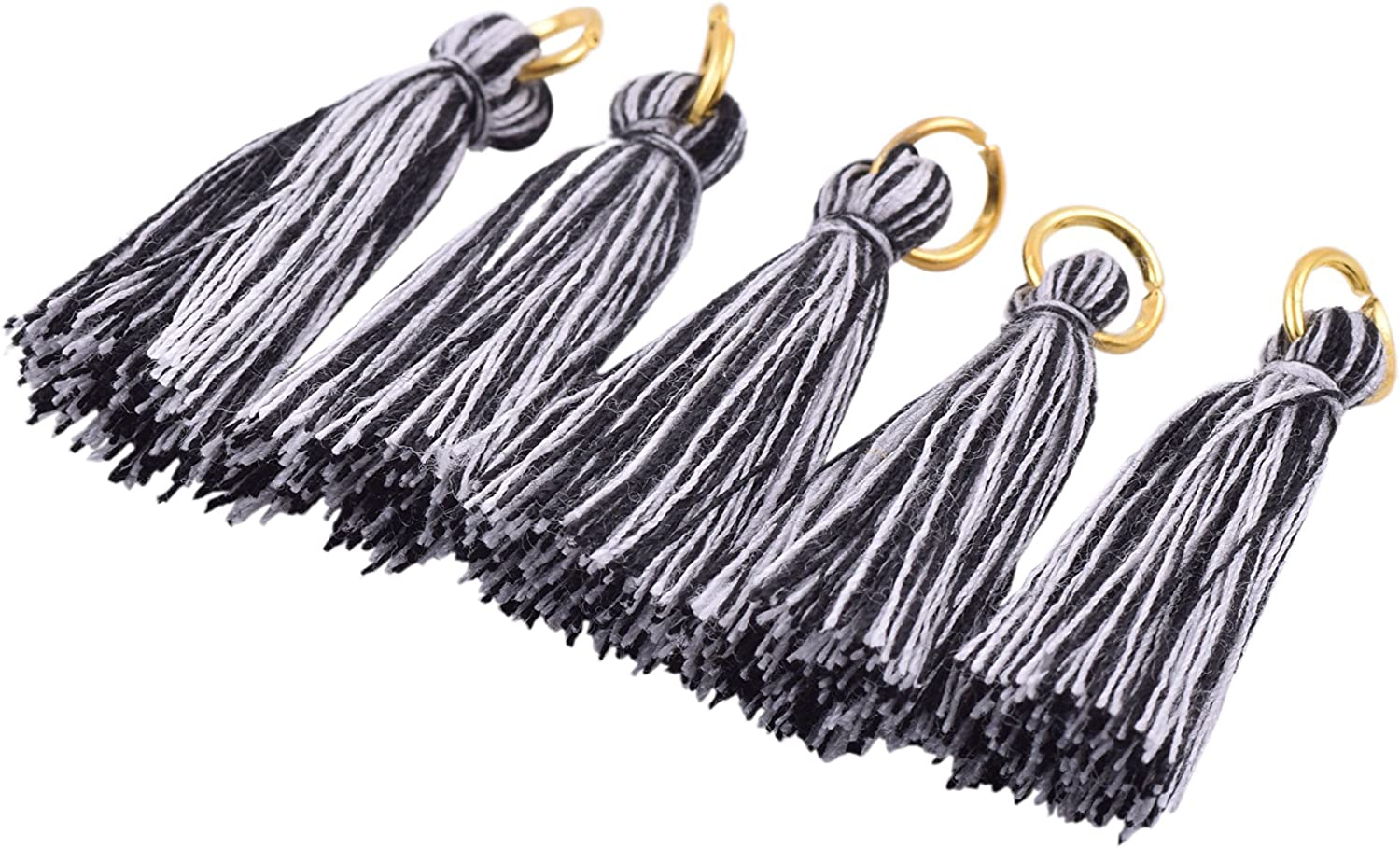Aqua 3.5cm Soft Handmade Silky Tiny Craft Tassels with Golden Jump Ring for DIY Projects KONMAY 100PCS 1.4