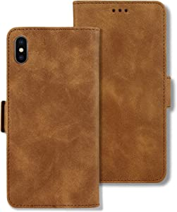 iPhone Xs Max Wallet Case, iPhone Xs Max Case, [RFID Blocking] Leather Wallet Case, Card Slots and Kickstand,Shockproof Protection,Flip Cover Folio Magnetic Clasp Closure for iPhone Xs Max 6.5