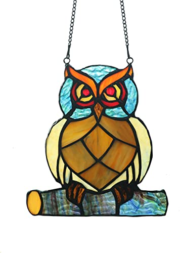 Alivagar Stained Glass Owl Window Hanging Tiffany Style, 7 x 6