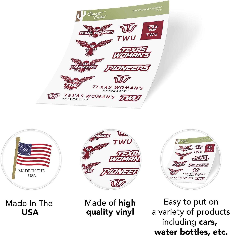 4 Inch Set Texas Womans University Sticker Vinyl Decal Laptop Water Bottle Car Scrapbook