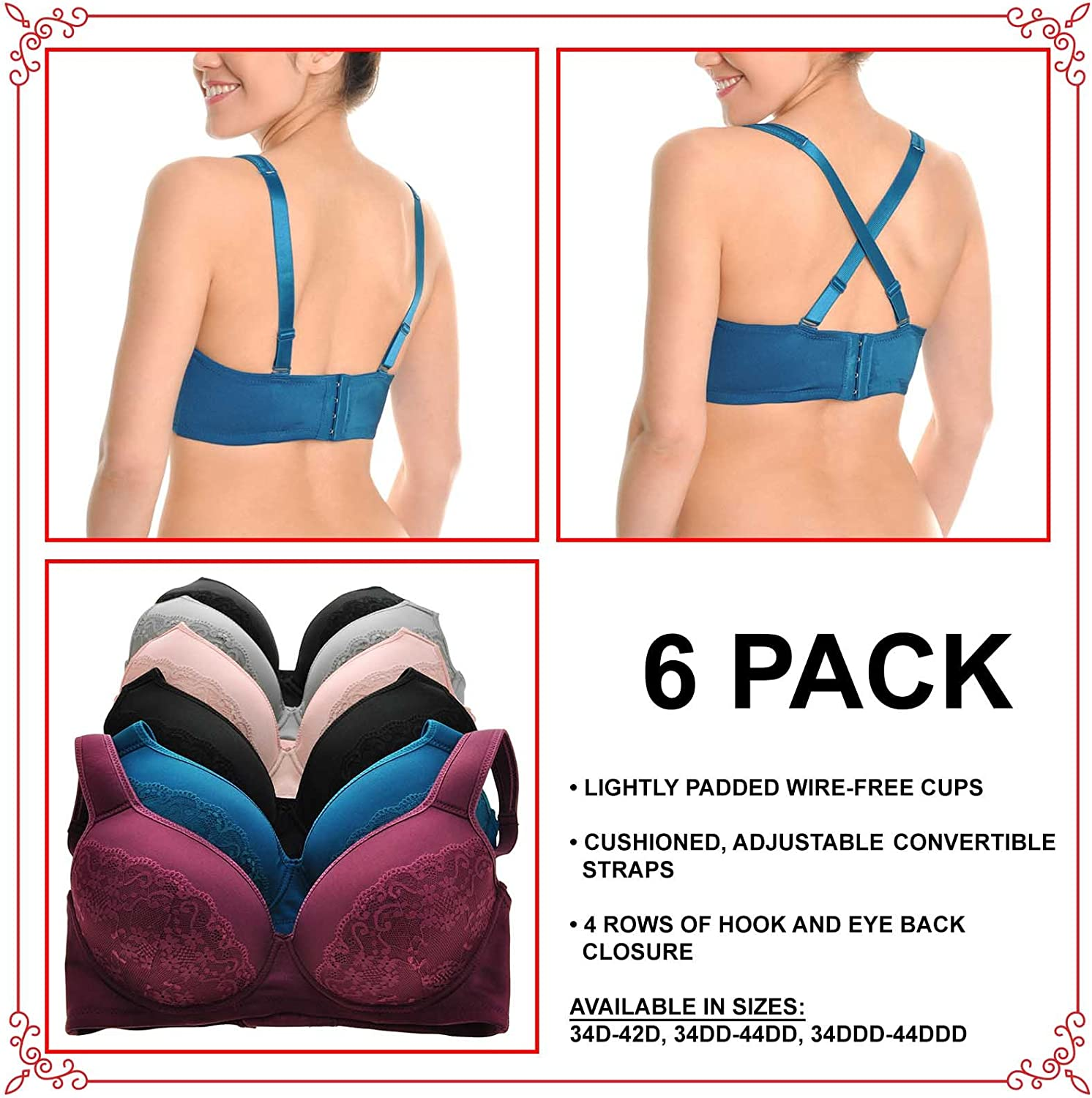 Angelina Lace Accented Full Cup Bras w//Extra Wide Wings 6-Pack