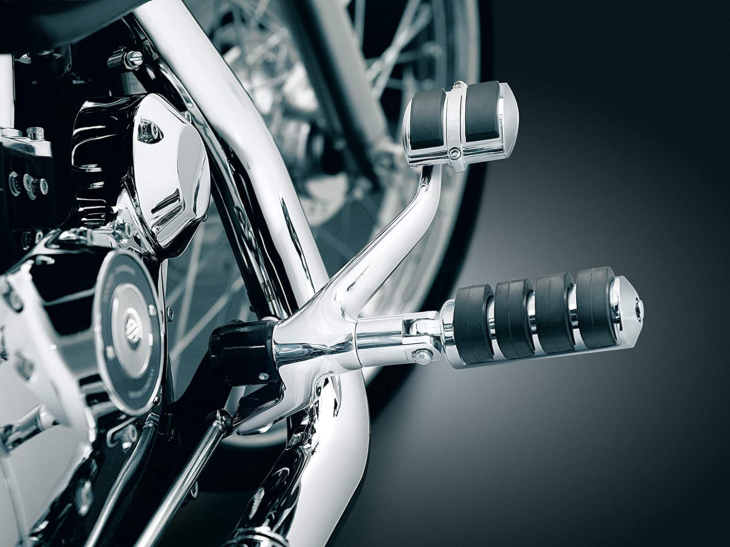 Small 1 Pair Kuryakyn 8000 Motorcycle Footpegs: Premium ISO Pegs with Male Mount Adapters Chrome