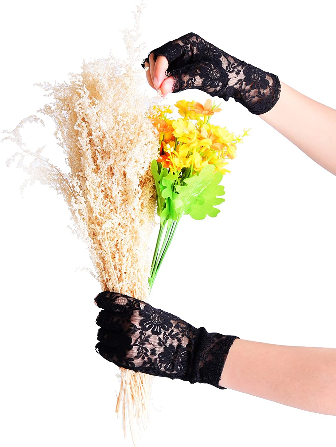 BBTO 3 Pairs 80s Lace Fingerless Gloves Costume Gloves for Christmas Accessory (Black): Clothing