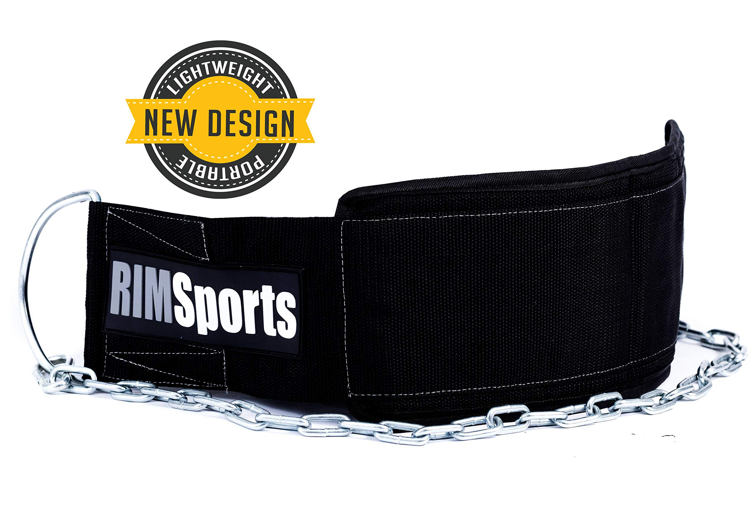 RIMSports Premium Lifting Belt with Chain - Best Weight Belt with Chain- Ideal Pull Up Dip Belt - Weightlifting for Dip & Pull Up, Chin Up Belt - Premier Dipping Belt for Men & Women (Black/White)