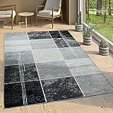 Paco Home Alfombra De Diseño - A Cuadros Efecto Mármol - Jaspeado Gris Negro Blanco, tamaño:60x100 cm