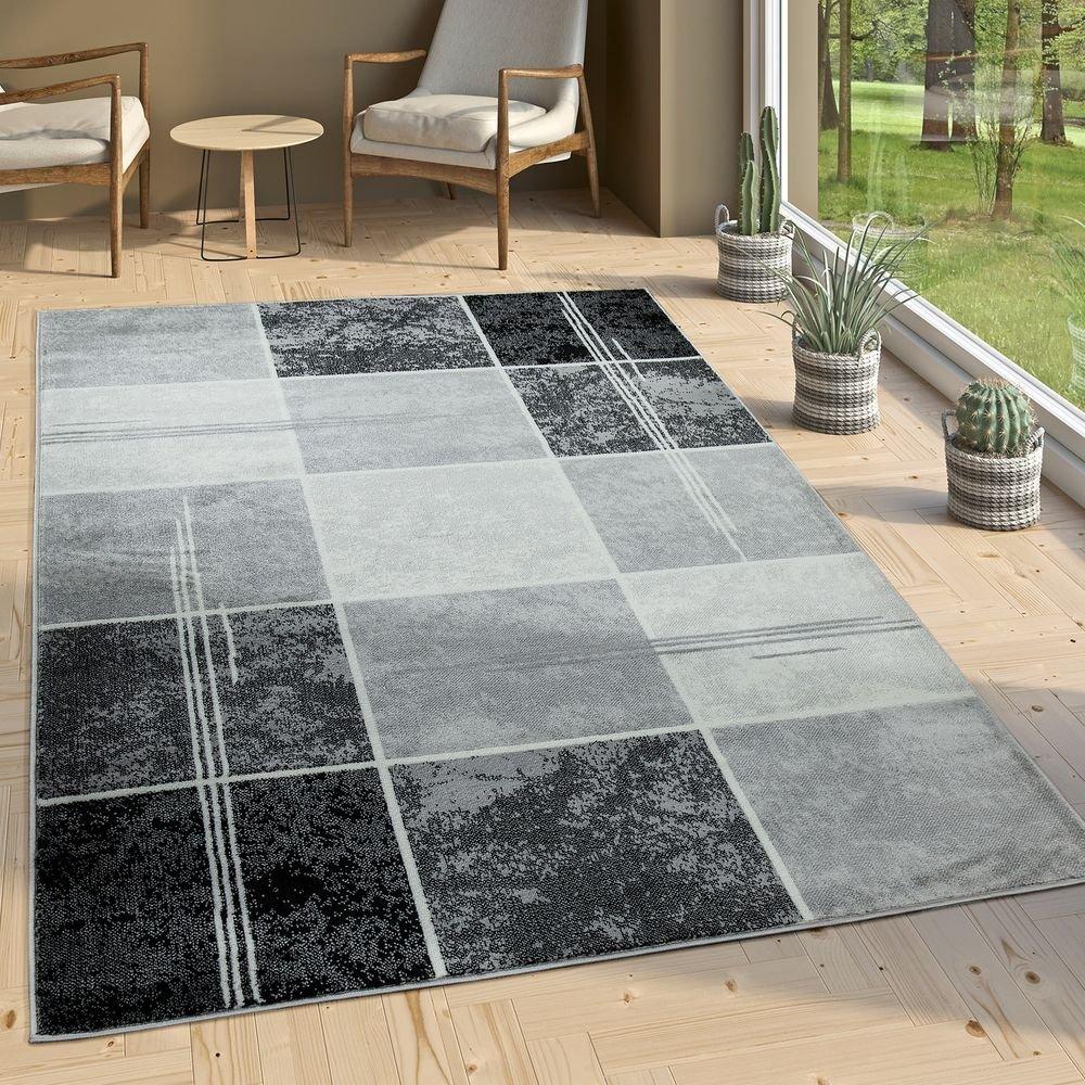 Paco Home Designer Teppich Kariert in Marmor Optik Meliert Grau Schwarz Weiss Preishammer, Grösse:240x340 cm