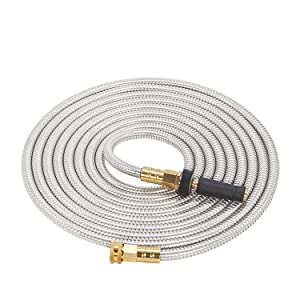 GRUNEN WOLKEN 25 FT 304 Stainless Steel Metal Garden Hose with Solid Brass Nozzle - Solid Metal Fittings and Newest Spray Nozzle, Lightweight, Kink Free, Durable and Easy to Store(25FT)