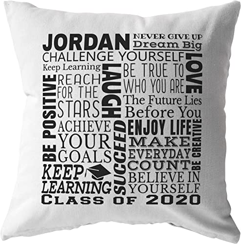 ODDITEES Personalized Graduation Gift Graduate Name and Date Class of 2020 Inspirational Custom Throw Pillow 26 x 26, Zip Cover with Insert