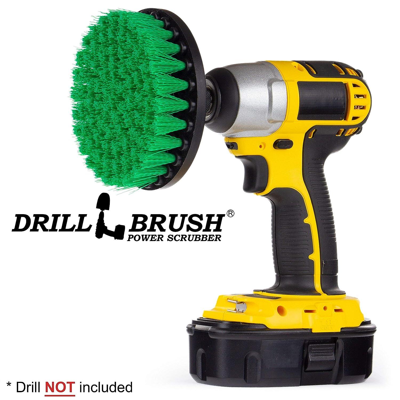 Carpet Brush Drill Attachment Medium Duty Scrubbing Drill Brush with Quarter Inch Quick Change Shaft Drillbrush 5in-Lim-Green-Short-QC