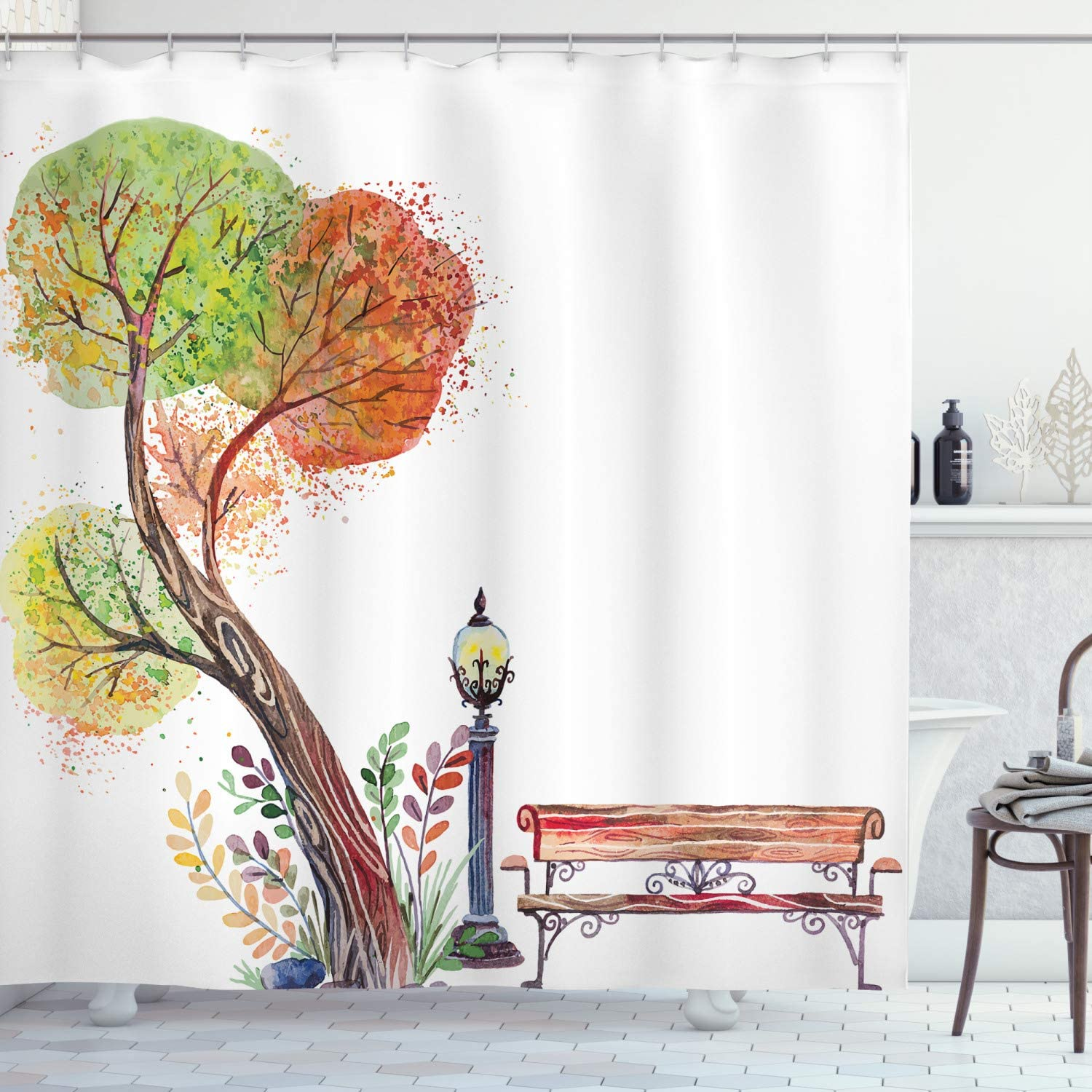 Ambesonne Forest Shower Curtain, Autumn Day in The Park with Fall Leaves and Trees Hand Drawn Style Vintage Picture, Cloth Fabric Bathroom Decor Set with Hooks, 70