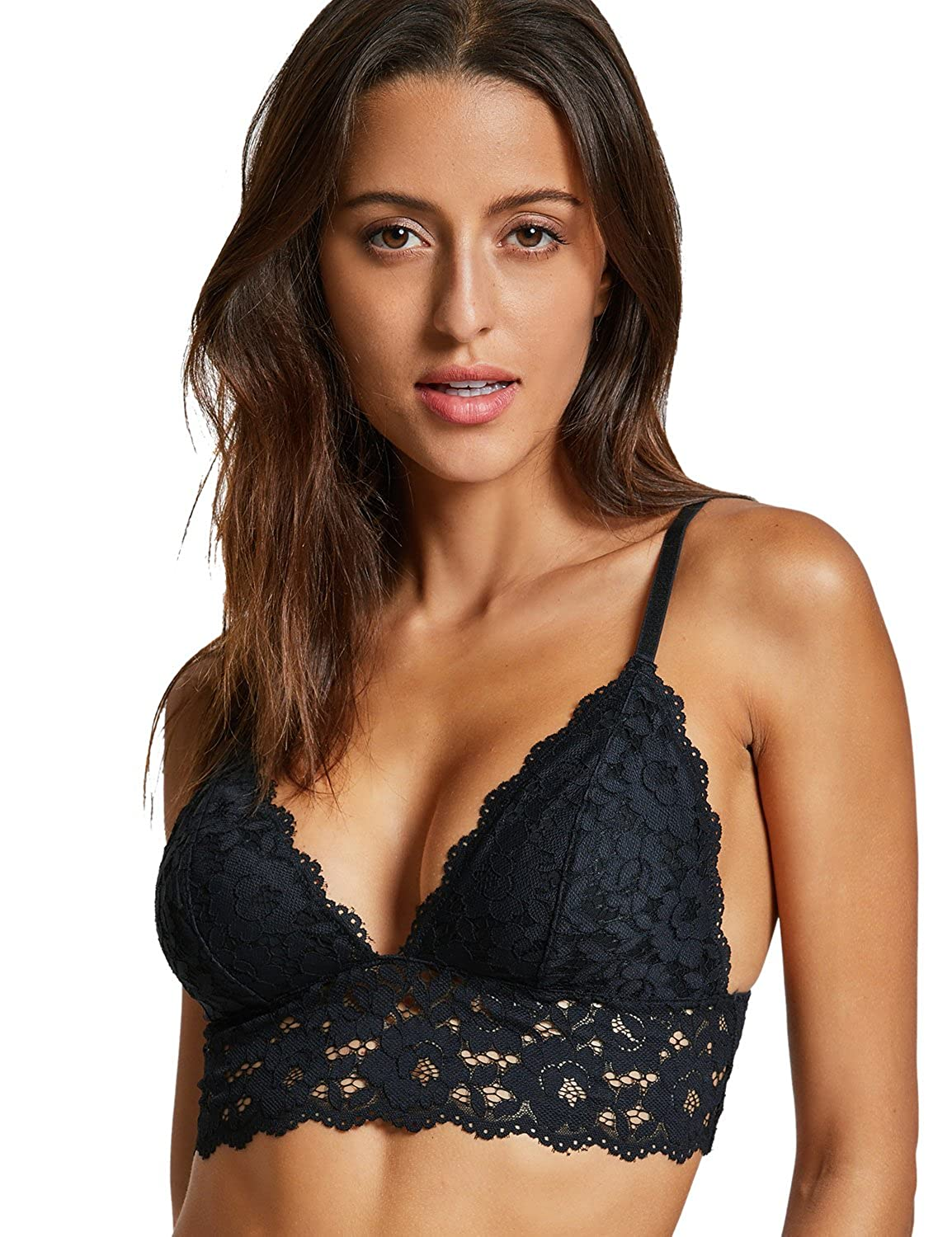 2d9151297f Dobreva Women s Removable Pads Wire Free Longline Cute Bra Lace Bralette   Amazon.co.uk  Clothing