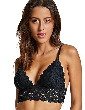 5d352b6611 Dobreva Women s Removable Pads Wire Free Longline Cute Bra Lace Bralette  Black XS
