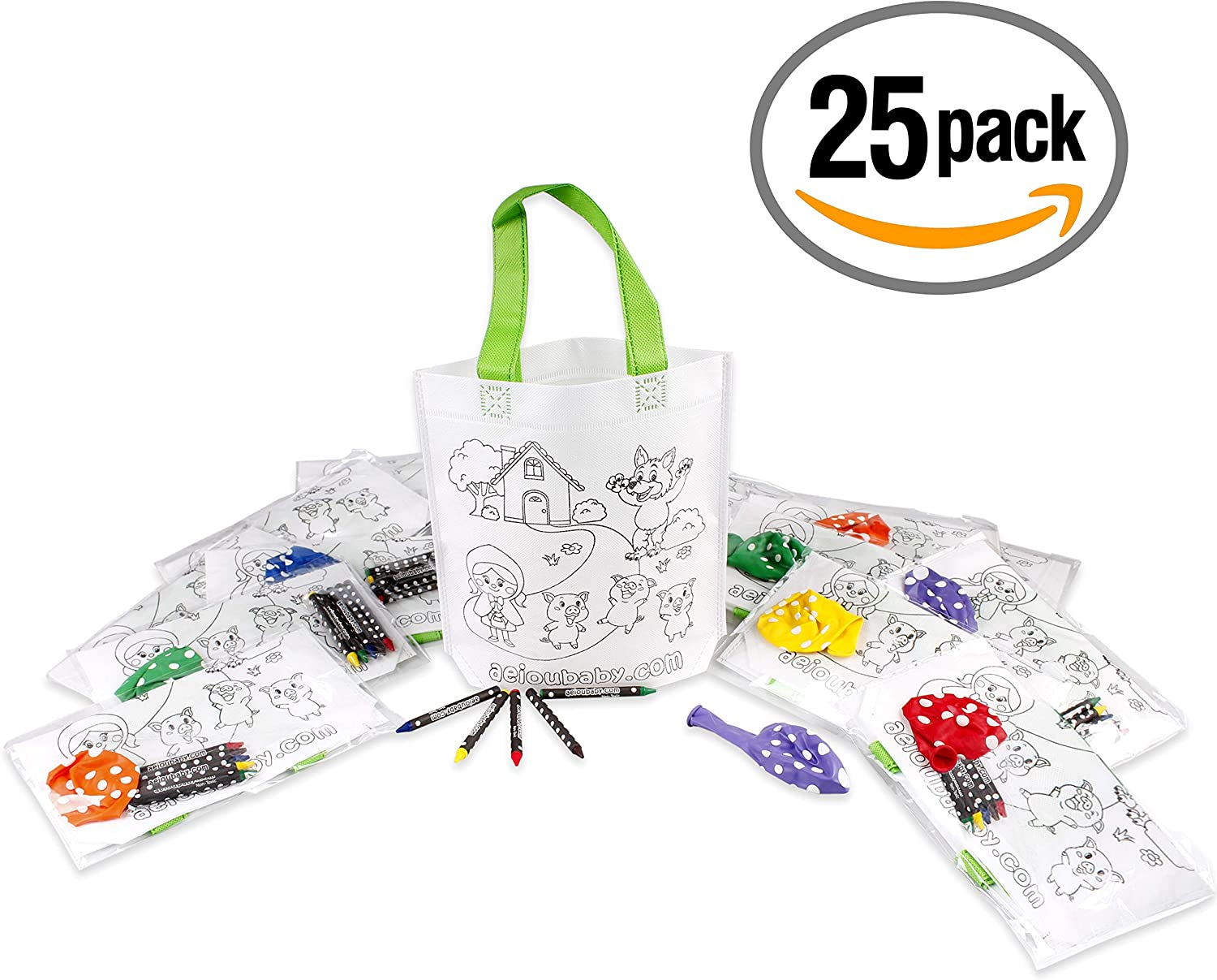 10 Individual Bags with 5 Coloured Crayons and a Balloon 10 Pencil Cases Color Your Own Childrens Gift for Parties and Birthdays