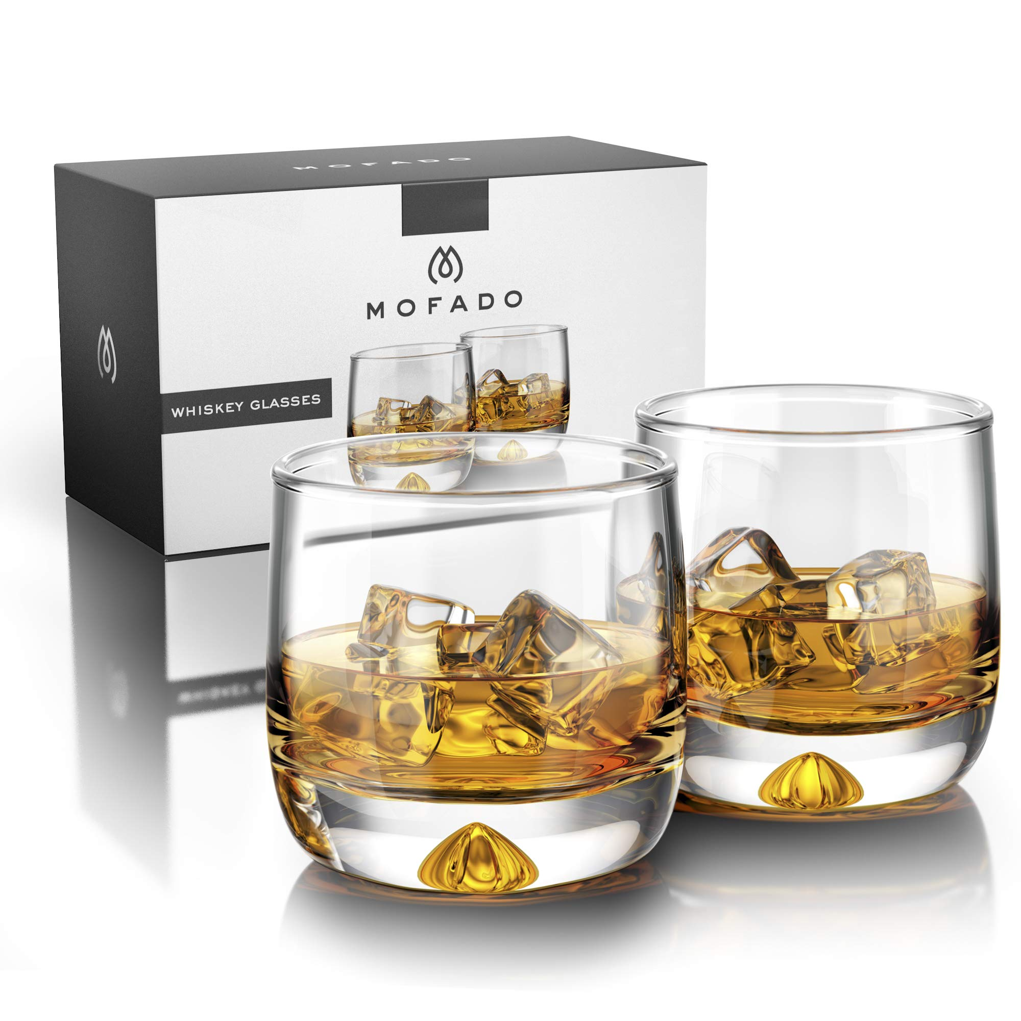 Premium Whiskey Glasses - Large - 12oz Set of 2 - Lead Free Hand Blown Crystal - Thick Weighted Bottom - Seamless Handmade Design - Perfect for Scotch, Bourbon, Manhattans, Old Fashioned's, Cocktails. by Mofado (Image #3)