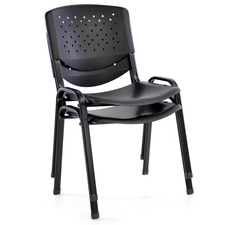Nexos B/ürostuhl 2er Set Konferenzstuhl Besucherstuhl schwarz LxBxH 48 x 54 x 79 cm Stapelstuhl Metallrahmen stabil Sitzfl/äche Kunststoff