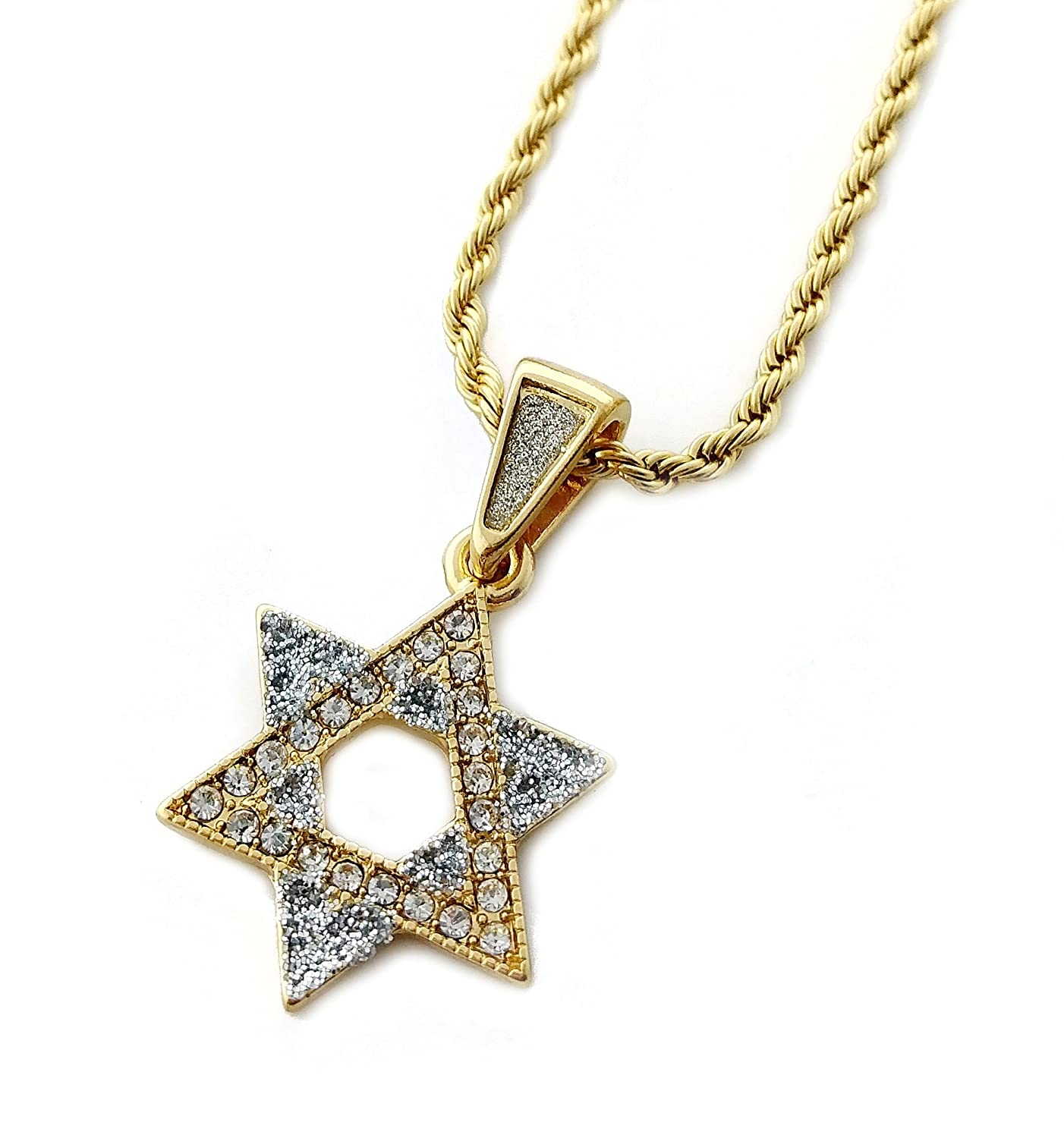 """Star of David Mini Pendant Necklace in 18k Gold Finish with 24"""" 3mm Rope Chain"""