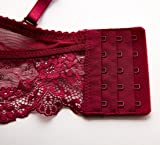 Womens Embroidery See-Through Lace Plunge Push Up
