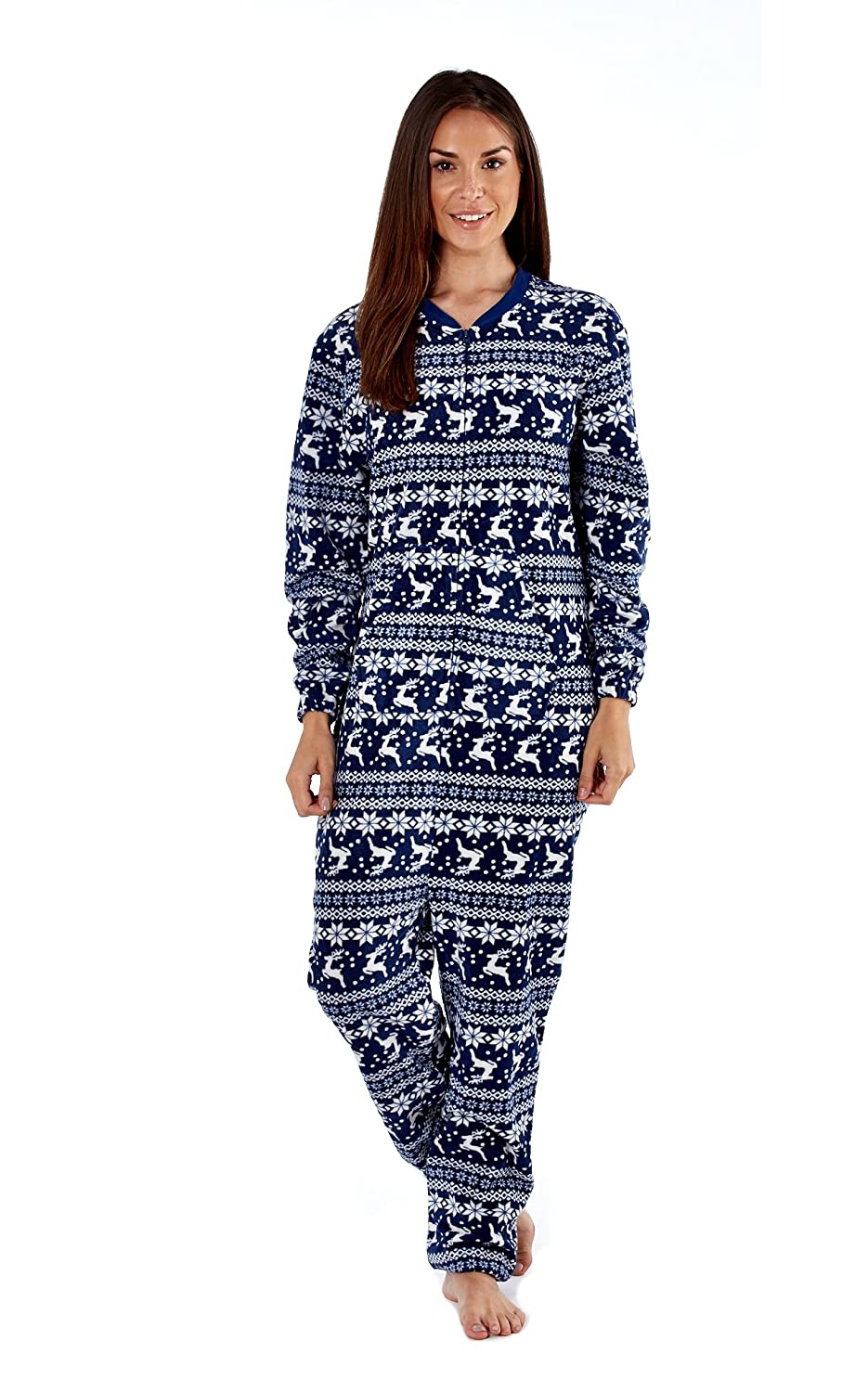 Ladies Selena Secrets Fair Isle Reindeer Design Microfleece All In One Sleepsuit