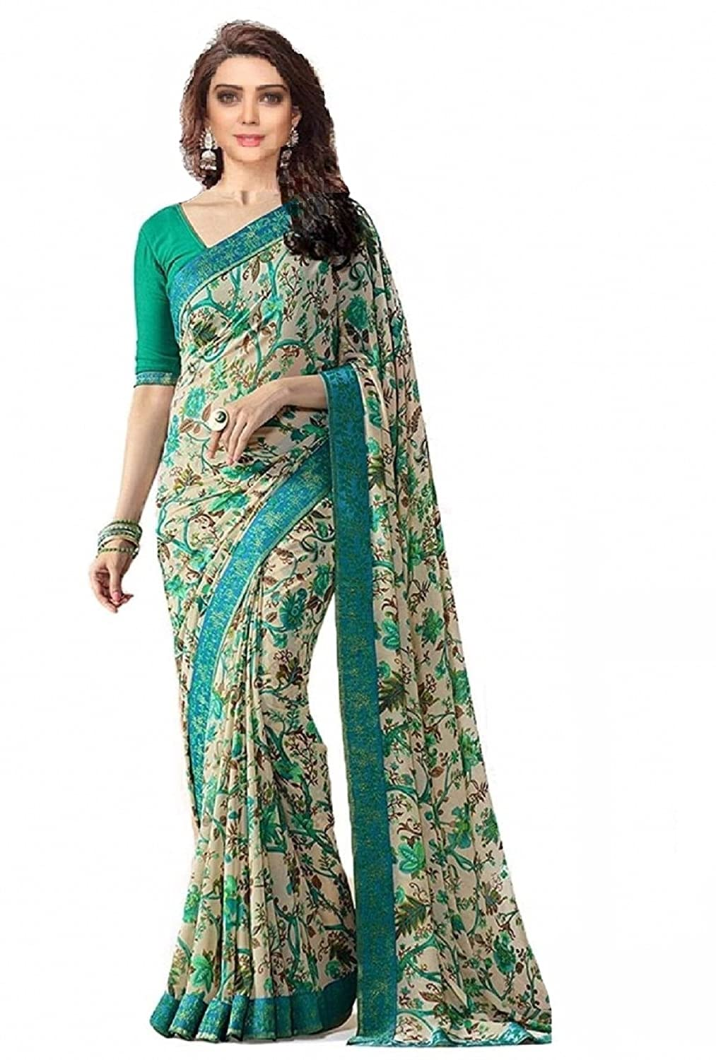 Hinayat Fashion Chiffon Saree (Nht01Sri531_Green_Free Size)