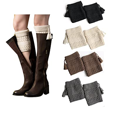 e99e556ad Bestjybt Womens Short Boots Socks Crochet Knitted Boot Cuffs Leg Warmers  Socks (4 Pairs-