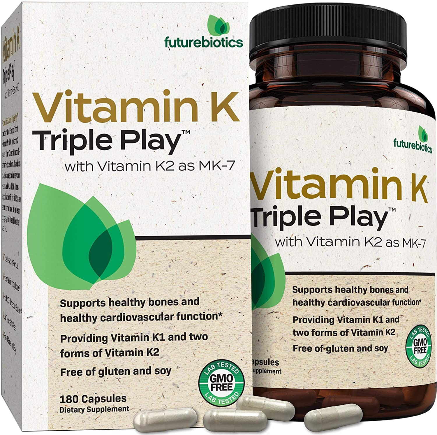 Futurebiotics Vitamin K Triple Play (Vitamin K2 MK7 / Vitamin K2 MK4 / Vitamin K1) Full Spectrum Complex Vitamin K Supplement, 180 Capsules