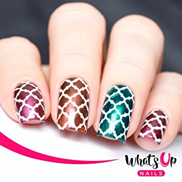 Whats Up Nails , Moroccan Vinyl Stencils for Nail Art Design (2 Sheets, 24  Stencils Total)