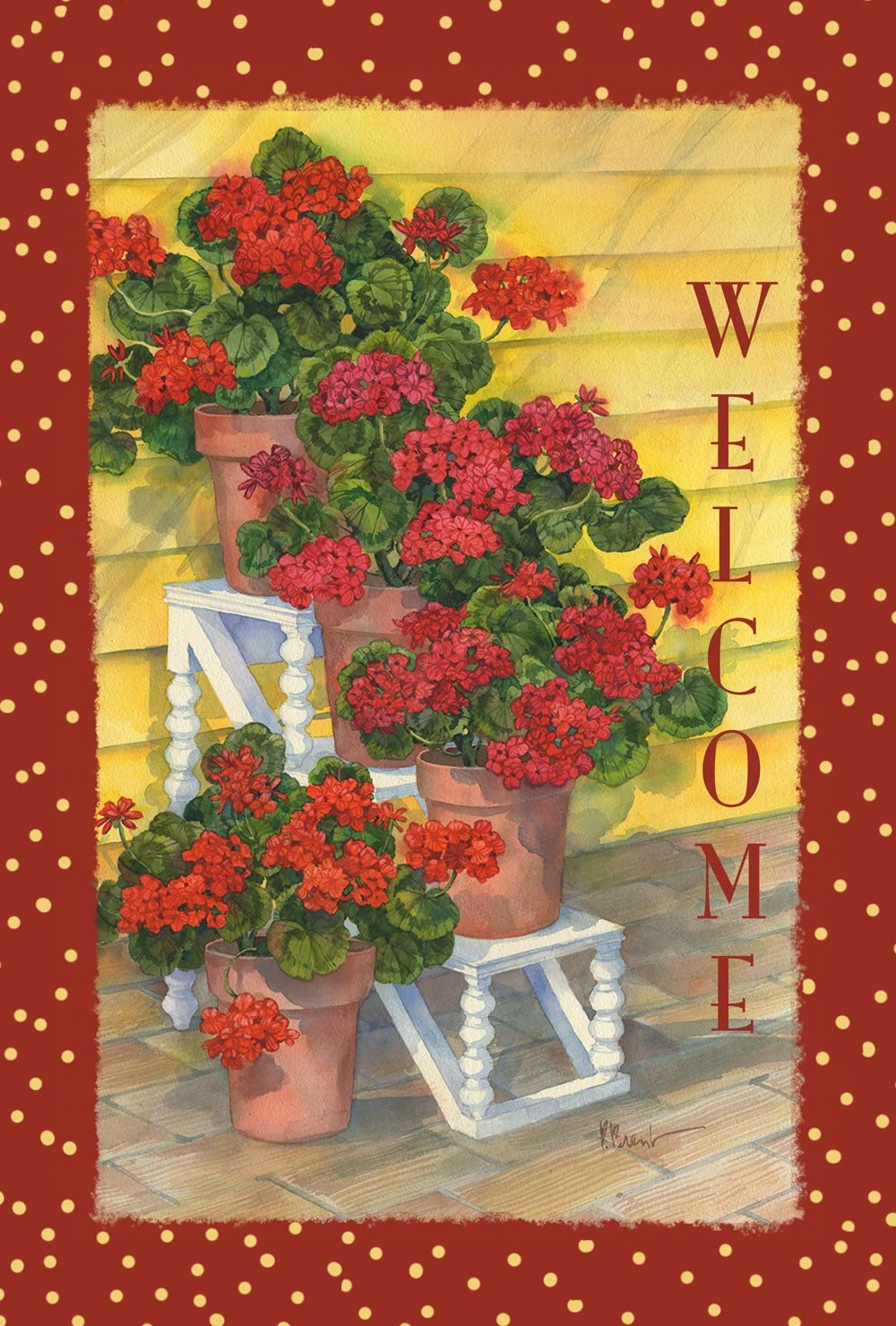 Toland Home Garden Polka Dot Geraniums 28 x 40 Inch Decorative Red Summer Flower Welcome House Flag