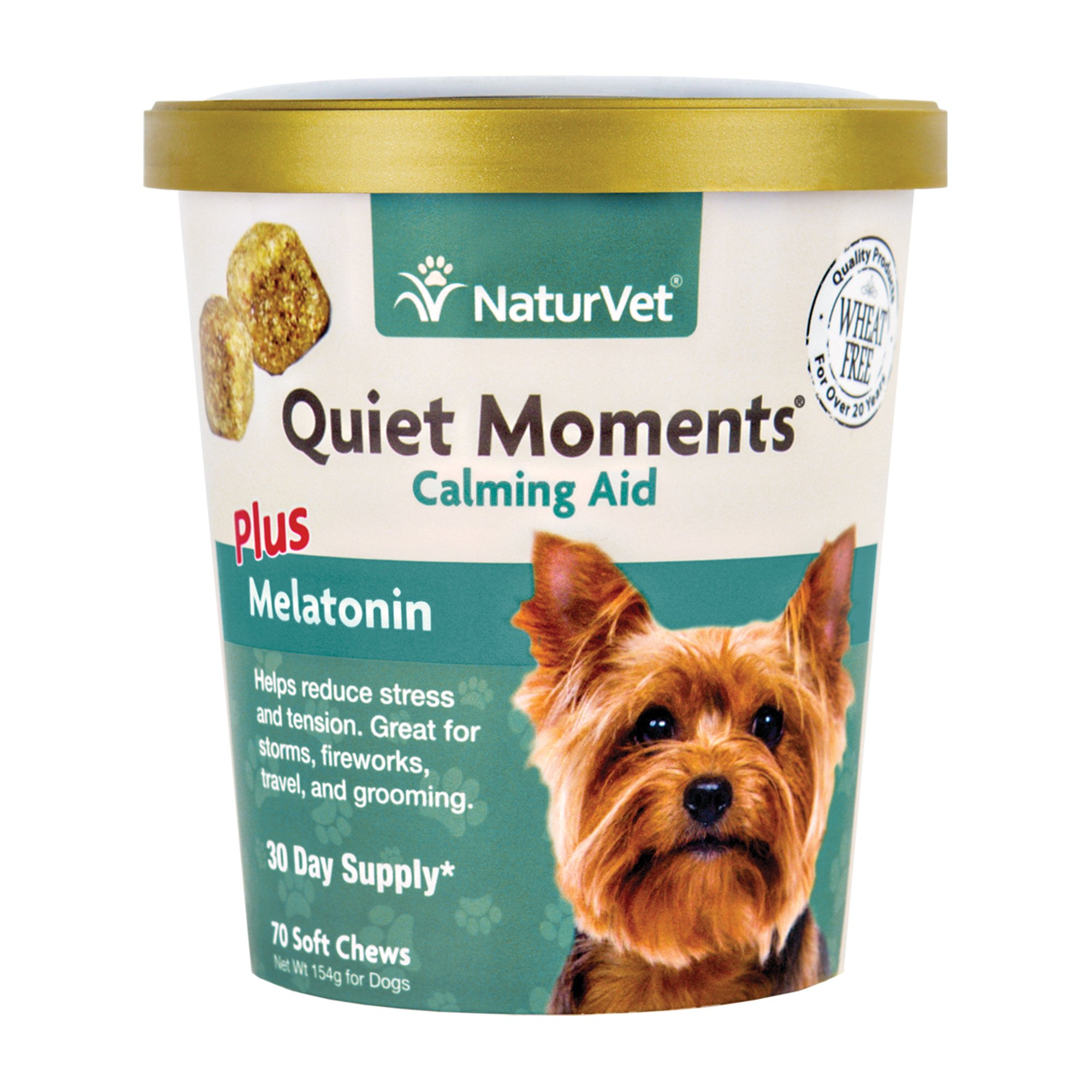 NaturVet Quiet Moments Calming Aid Soft Chew Supplement for Dogs, Reduce Stress and Anxiety with this Veterinarian formulated calming supplement by