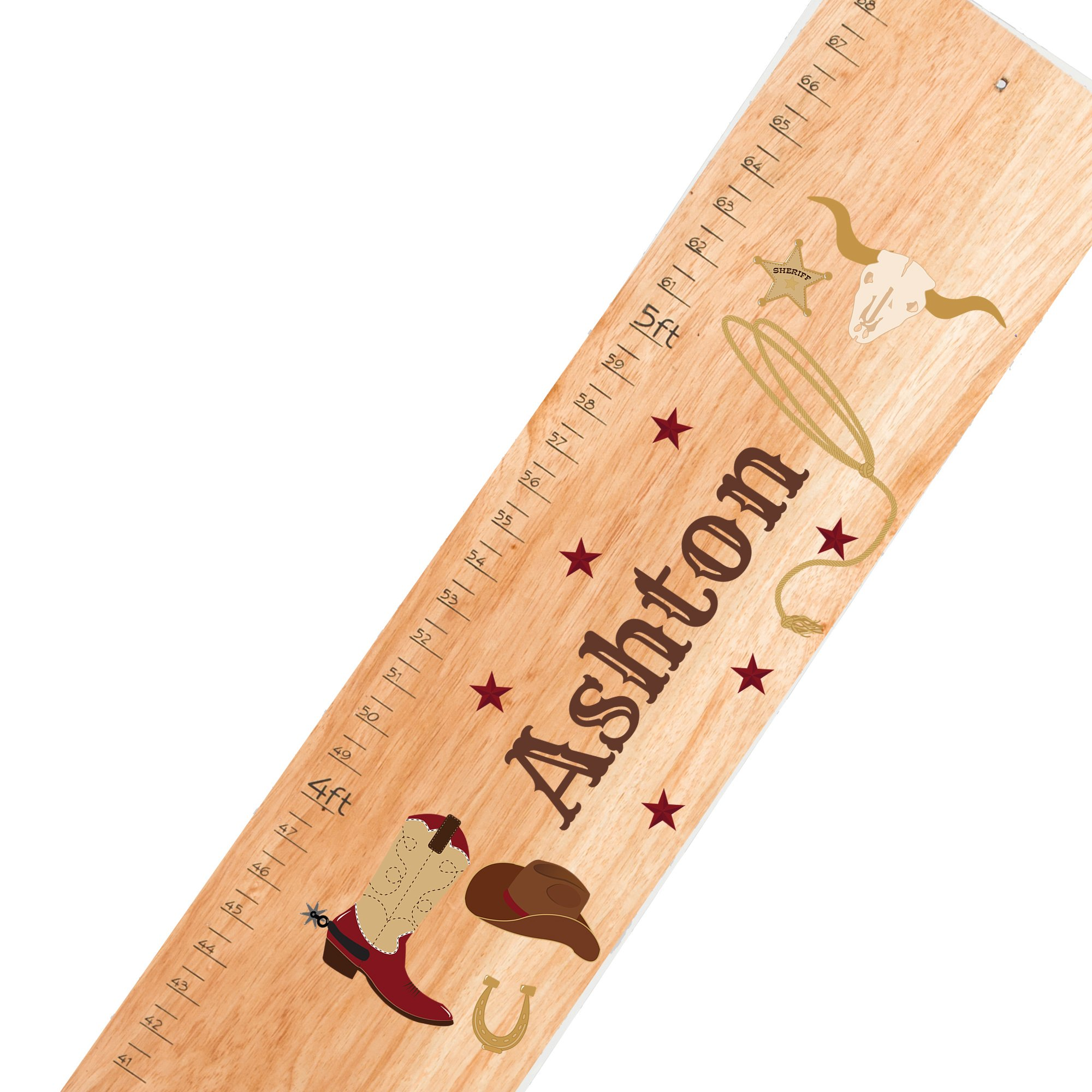 Personalized natural Wild West childrens wooden growth chart