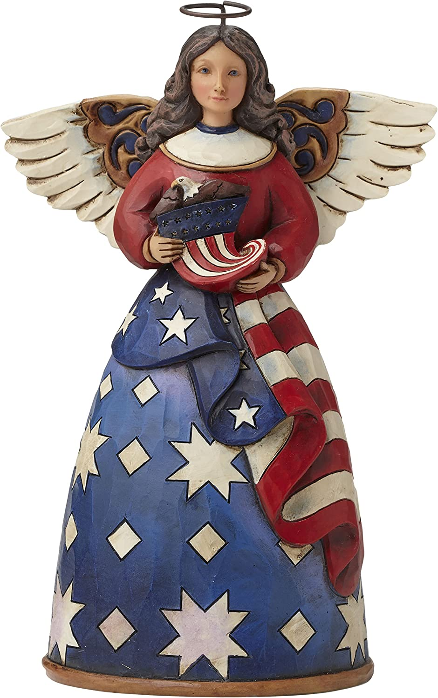 "Jim Shore Heartwood Creek Patriotic Angel in Flag Dress Stone Resin Figurine, 6"""
