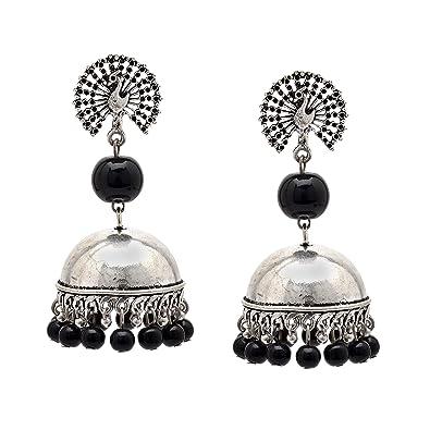 33d6a1ff2 Zephyrr Jhumka Earrings Women Stylish German Silver Black Beaded Peacock  Design For Girls and Women: Amazon.co.uk: Jewellery