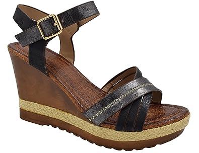 b76e2e9931b4 MaxMuxun Womens Black Ankle Strap Platform Wedge Sandals UK Size 3   36EU