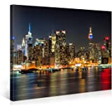 Large Canvas Print Wall Art – MANHATTAN NIGHT LIGHTS – 40x30 Inch New York Cityscape Canvas Picture Stretched On A Wooden Frame – Giclee Canvas Printing – Hanging Wall Deco Picture / e4349
