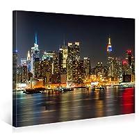 Manhattan Night Lights–Stampa artistica su tela wall-deco Premium–Stampa Giclee su tela, artistica da parete XXL, quadro su tela tesa su telaio, tela in alta definizione