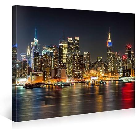 Manhattan night lights premium canvas art print 40x30 inch large new york cityscape wall