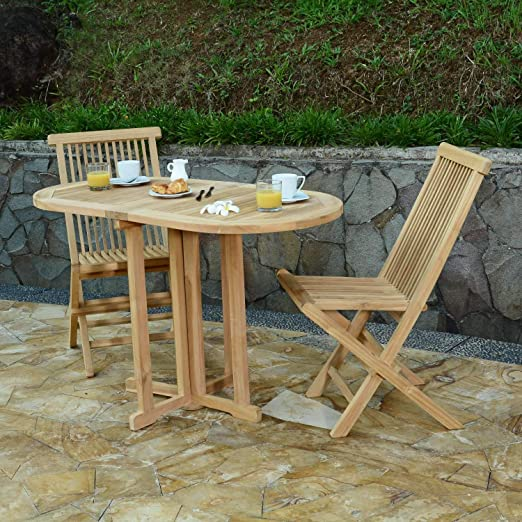 Salon de Jardin en Teck Ecograde Tahiti, Table Pliante 120 x ...