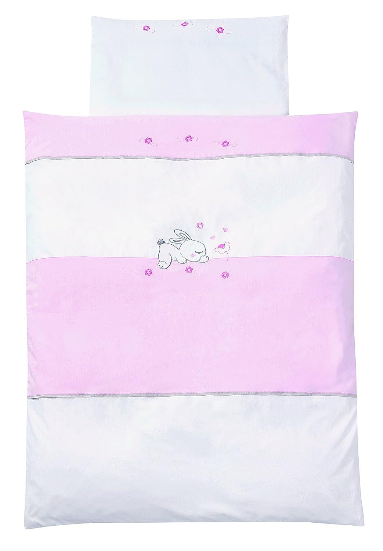 Easy Baby 810-38 Bettwäsche mit hochwertiger Stickerei, Dessin Rabbit, 100/135 plus 40/60, rose