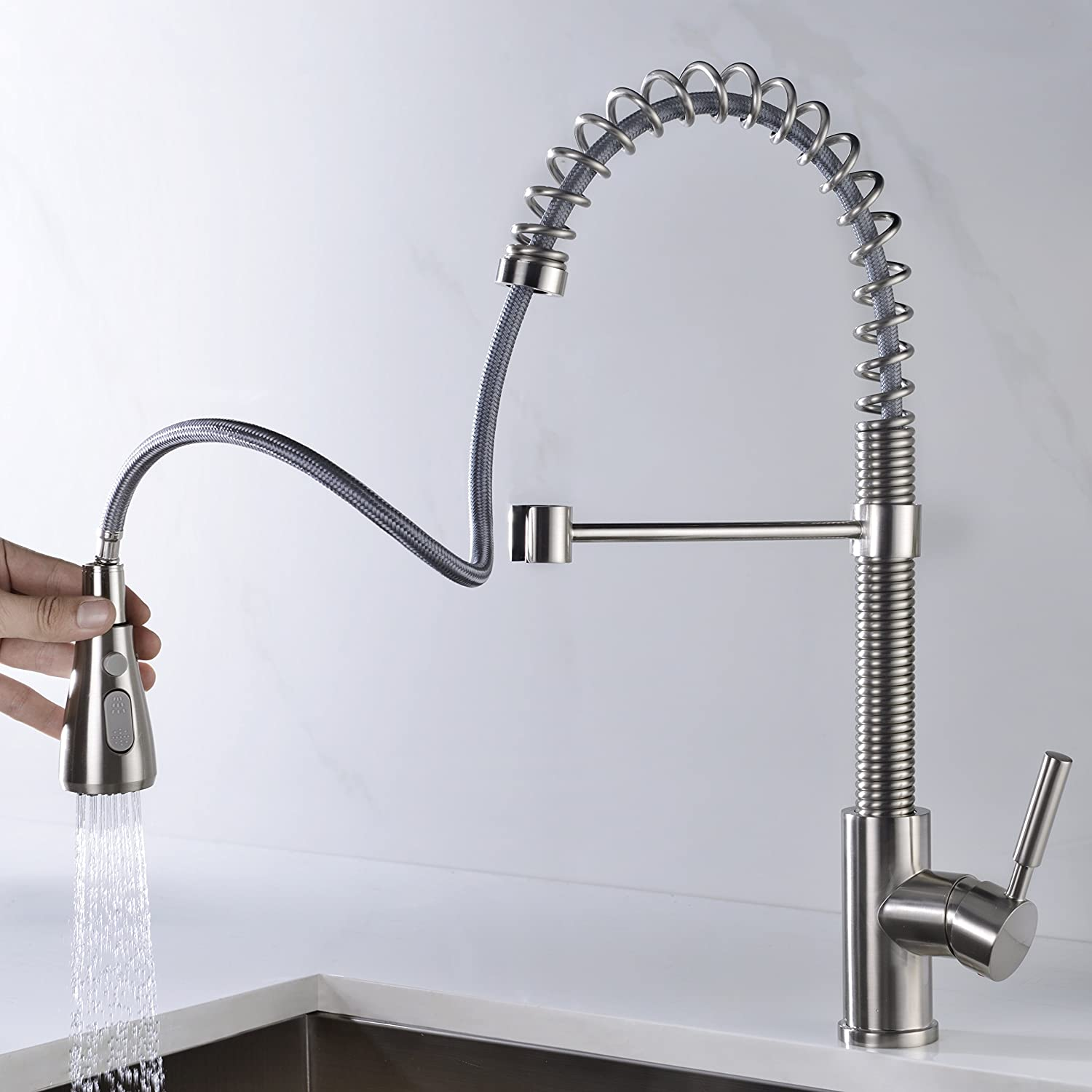 Kitchen Faucet Brushed Nickel with Pull Down Sprayer Delle Rosa Durable and Sturdy Single Handle Pre-rinse Spring Kitchen Sink Faucet