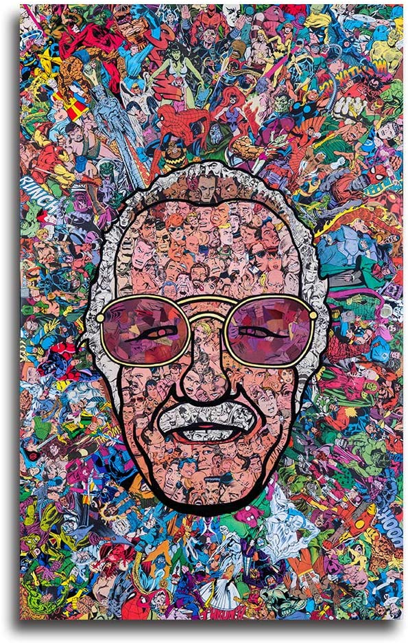 Faicai Art Stan Lee Canvas Paintings Father of Marvel Colorful HD Prints Poster On Canvas Wall Art Decoration Abstract Pictures Wall Decor for Bedroom Living Room Office Collections Framed 12x16inch
