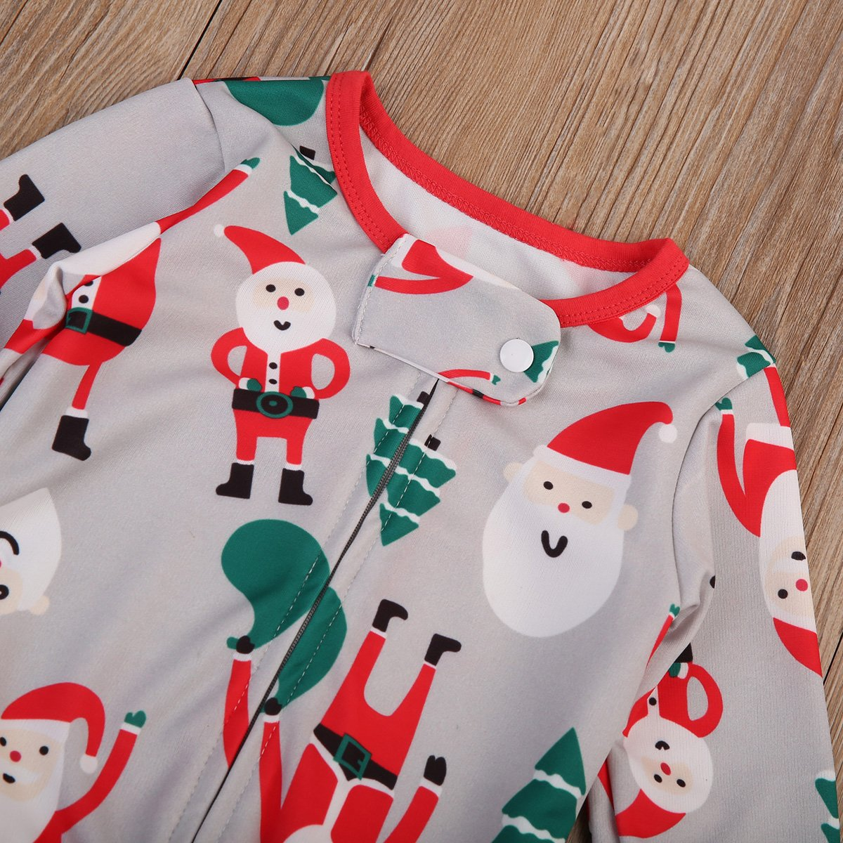 8037fba69 Baby Boy Girl Sleeper Father Christmas Trees Printed Romper Cute ...