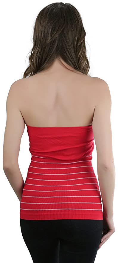dc69c472f0 ToBeInStyle Women s Seamless Half-Striped Tube Top - Red - One Size at Amazon  Women s Clothing store